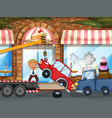 accident scene with car crash in front shop vector image vector image