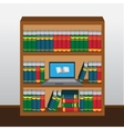 Book shelf with laptop online library vector image