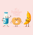breakfast funny cartoon character banana fruit vector image vector image