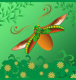 bright abstract beetle on a green background vector image vector image
