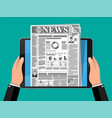 business news on screen of tablet computer screen vector image