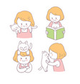 cartoon cute girl and cat set vector image