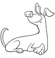 cartoon lying dog character coloring book page vector image vector image