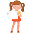 cartoon of a cute little girl in vector image vector image