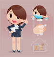 cartoon woman prepare for coronavirus work vector image