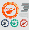 chicken leg or drumstick icon on the red blue vector image vector image