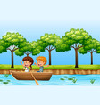 children paddle wooden boat vector image