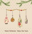 Christmas watercolor retro postcard vector image vector image