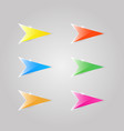 colored glass arrows on a gray background vector image vector image
