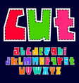 colorful font cutout from paper trendy alphabet vector image