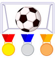 colorfull cartoon soccer ball gate medal icon set vector image vector image