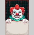 creepy circus poster scary evil clown with paper vector image vector image