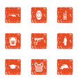 crime challenge icons set grunge style vector image vector image