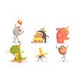 cute cartoon monsters characters set birthday vector image vector image