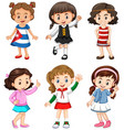 cute girls with happy face vector image vector image