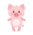 cute pink standing pig vector image vector image