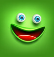 funny green smiling face emoticon emoji vector image
