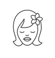 girl with plumeria flower linear icon vector image vector image