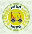 golf club car transport balls background emblem vector image