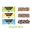 granola bars chocolate with grain berries nuts vector image vector image
