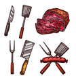 grill meat sausages cutlery sketch icons vector image