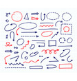 handcrafted elements hand drawn arrows set on vector image vector image