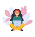 happy girl sitting and using a laptop trendy vector image