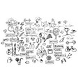 health doodles healthy elements isolated on white vector image vector image