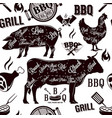 meat cuts and barbecue seamless pattern vector image