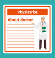 medical notes about physiatrist vector image vector image
