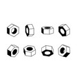 nut in various angles design black and white vector image vector image