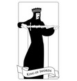 outlines king of swords with spades crown holding vector image vector image