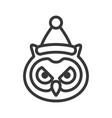 owl wearing santa hat outline icon editable stroke vector image vector image
