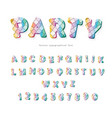 party trendy font sequins textured letters and vector image