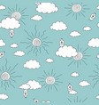 pattern with doodle cloudsbirds and suns vector image