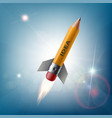 pencil in the form of a rocket flying in the sky vector image vector image