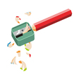 pencil sharpener and colored pencil on white back vector image