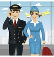 pilot and air hostess in uniform at airport vector image