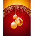 red christmas background with golden balls vector image vector image