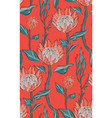 red protea with leaves seamless pattern design vector image vector image