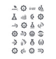 set agro and bio icons template for logo gray