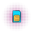 Sim card icon comics style vector image vector image