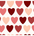simple seamless pattern with hearts of red shades vector image