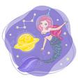 space mermaid cartoon cosmos princess illus vector image vector image