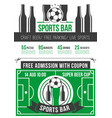 sport bar menu poster with soccer ball and beer vector image vector image