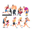 sportsmen training in gym set men and women doing vector image vector image