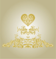 Sticker label with gold heart and ornaments vector image vector image