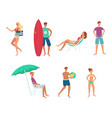 summer sea vacation people flat set vector image vector image