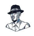 vintage template man in fedora hat vector image vector image