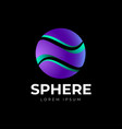 violet sphere logo abstract ball cut into 3 parts vector image vector image